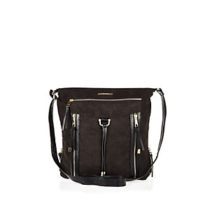 Black suedette cross body tassel handbag