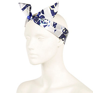 Navy floral print wired hair wrap