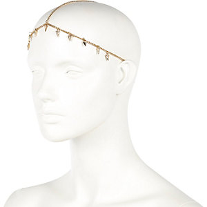 Gold tone mini tusk hair crown