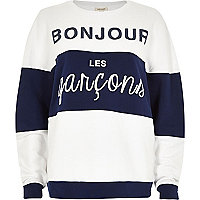 White stripe bonjour sweatshirt