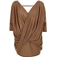 Brown 3/4 sleeve drape front top