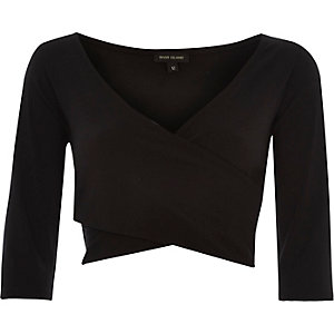 Black wrap front crop top
