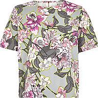 Grey boxy floral print t-shirt