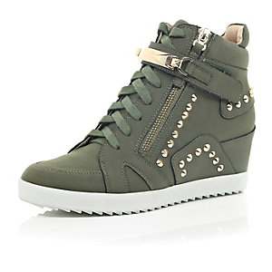 Khaki studded wedge high top trainers