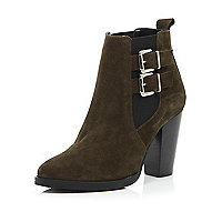 Khaki suede buckle side heeled Chelsea boots