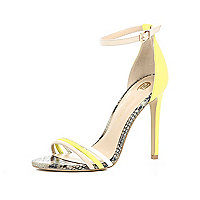 Yellow triple strap barely there sandals