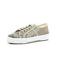 Gold snake print lace up plimsolls