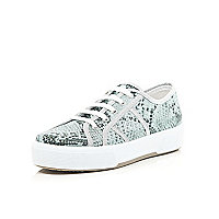 Green snake print lace up plimsolls