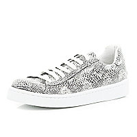 Black snake print lace up plimsolls