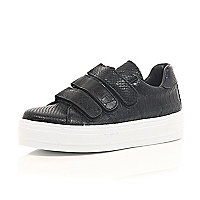 Black snake embossed Velcro trainers