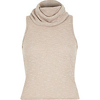 Beige ribbed cowl neck top