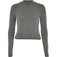 Grey ribbed long sleeve turtle neck top
