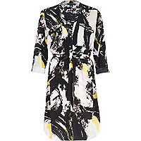 Black graphic print open neck shirt dress