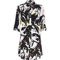 Black graphic print shirt dress