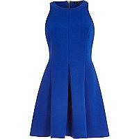 Blue sleeveless skater dress