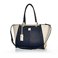 Navy winged tote bag
