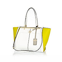 White lime green winged tote bag