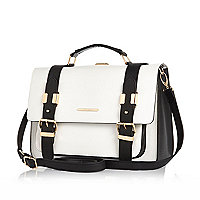 White and black large satchel bag