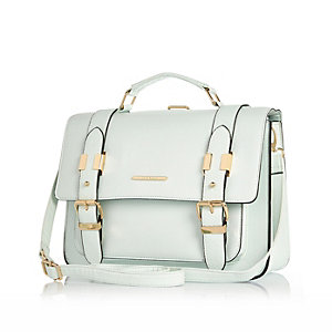Light green large satchel bag