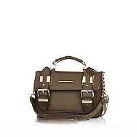 Khaki patent mini satchel bag