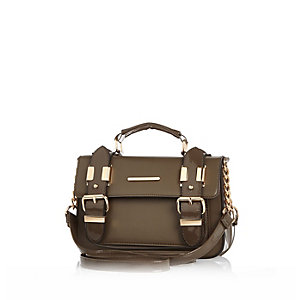 Khaki patent mini satchel handbag