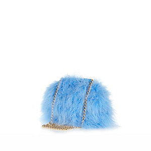 Blue fluffy cross body bag