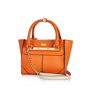 Orange mini tote handbag
