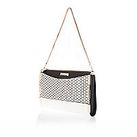 White contrast panel underarm bag