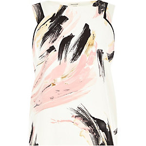 Pink abstract brush print wrap back top