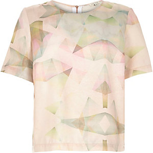 Pink print loose fit t-shirt