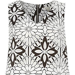 Black floral print crop top