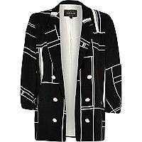 Black square print 3/4 sleeve crepe blazer