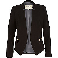 Black crepe fitted notch collar jacket