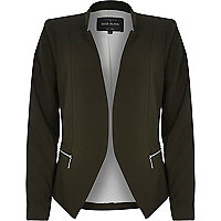 Khaki crepe fitted notch collar jacket
