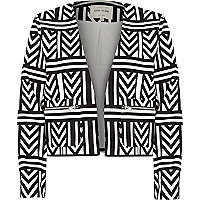 Black geometric print tailored boxy jacket
