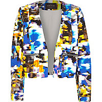 Blue abstract print tailored boxy jacket
