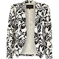 Black crepe floral print cropped jacket
