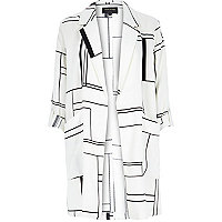Cream window pane print duster jacket