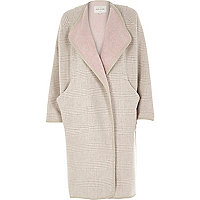 Beige check relaxed fit longline blanket coat