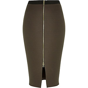 Khaki zip front pencil skirt