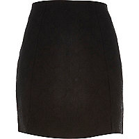 Black jacquard mini front split skirt