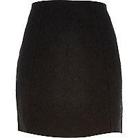 Black jacquard mini front split skirt