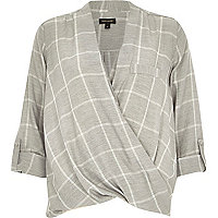 Grey check twist wrap blouse