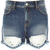 Dark wash ripped denim shorts