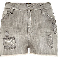 Grey acid wash ripped Darcy denim shorts