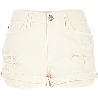 Beige ripped Ruby denim shorts