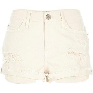 Ecru ripped Ruby denim shorts