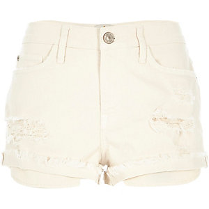 Ecru ripped denim shorts