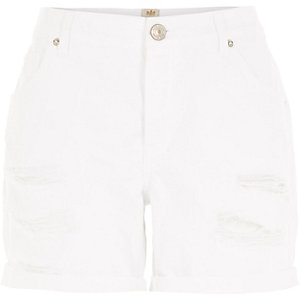 White ripped ultimate boyfriend shorts