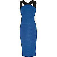 Blue colour block crepe bodycon dress
